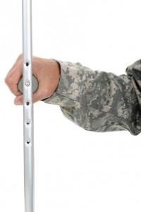 Soldier Holding Crutch